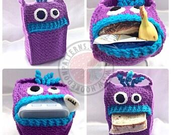 Lunch Monsters - Lunch Bag - Crochet PDF Pattern