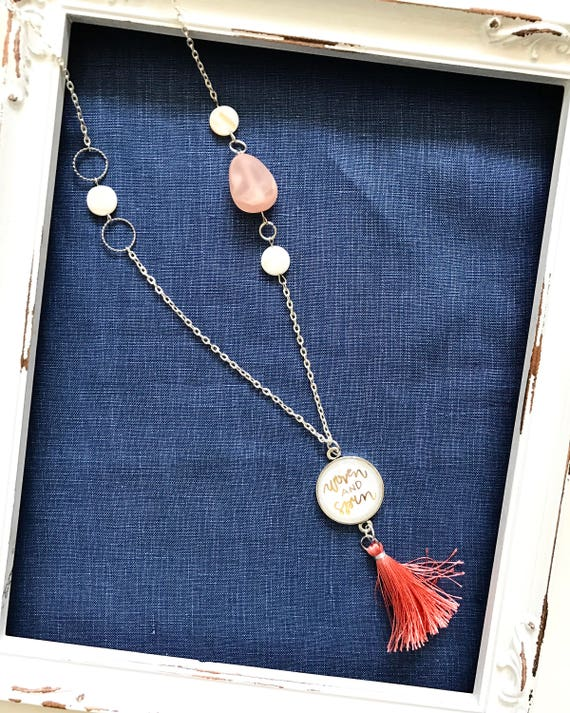 """Hand Lettered Cabochon Pendant & Tassel 24"""" Necklace with Beaded Accents * Catholic Christian Jewelry * Inspirational"""