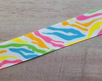 "7/8"" Ribbon by the Yard - Neon Zebra"