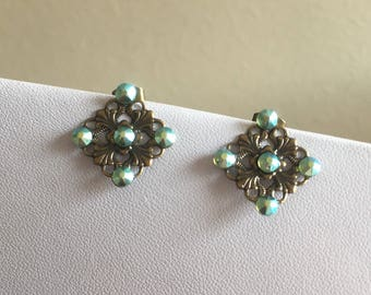 Bronze Filigree Earrings: Green AB Diamond Square Bridesmaid Prom Earrings