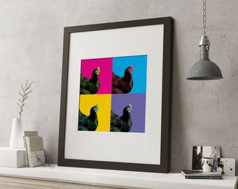 """LARGE 20""""x16"""" FRAMED Pop Art Animal Print, Black or White Frame/Mount, Chicken with bright colours"""