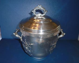 Antique Ice Bucket.  Silver over Copper Ice Bucket.  Hartford Sterling Company Ice Bucket.  Hartford Sterling Company.  Ice Bucket