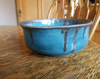 Turquoise and Gold Ceramic Planter/Serving bowl