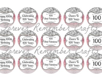 INSTANT DOWNLOAD 100th Birthday Party Bottle Cap Image Sheets *Digital Image* 4x6 Sheet With 15 Images