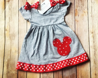 Baby Minnie Dress, Toddler Minnie Dress, Girls Mouse Dress, Baby Polkadot Dress