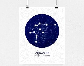 Aquarius Print, Star Sign Print, Zodiac Print, Aquarius Wall Art