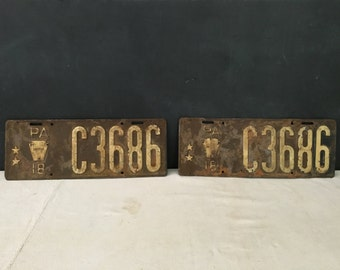 Truck Commercial Pennsylvania License Plate Pair 1918 - 1910s Vintage Bar Decor Man Cave Wall Penna PA - Rare Cargo Plate - 2 Stars