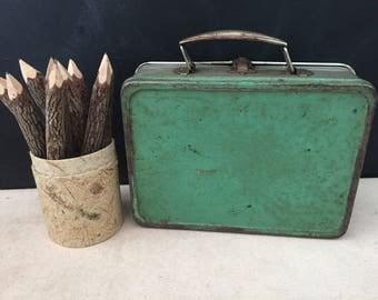 Lunch Box - Vintage Green Metal Lunchbox - Industrial Decor - Storage Box - Prop - Display - Repurpose Lunch Box
