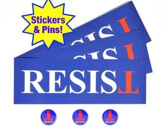 Resist Anti-Trump Bumper Sticker & Button/Pin Combo Pack - Anti-Hate - Anti-Far-Right- Falsum - Inverted T - Upside Down T -Progressive Left