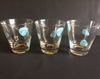 Vintage Federal Glass 50s Atomic Boomerang Amoeba Gold Turquoise Old Fashioned/Tumblers, Fantasy Pattern - Set of 3, Father's Day Gift