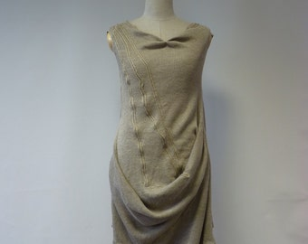 Amazing asymmetrical natural linen dress, M size. One-of-a-kind fashion feminine style.