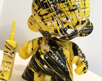 4in Munny (Yellow) with Cell Phone hand painted by emKel