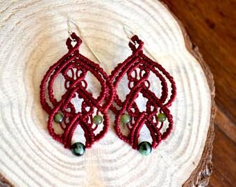 Red earrings - Easter earrings - Micro Macrame Earrings - Agate earrings - Gemstone earrings - Boho earrings - Crystal Dangle earrings