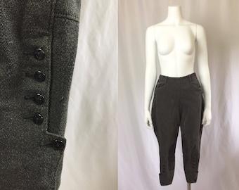 Xs ** 1940s CHARCOAL GREY jodhpurs ** vintage forties cotton denim leather black riding pants