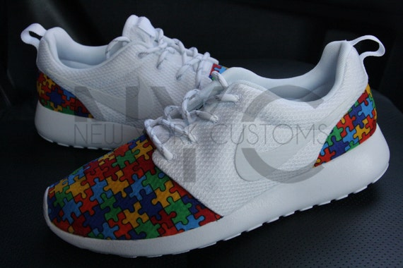 e4dc52dca3ad outlet Autism Speaks Nike Roshe Run White Autism Awareness Puzzle ...