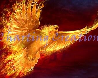 Phoenix Rising Counted Cross Stitch Pattern