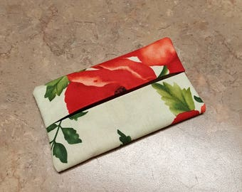 Pocket Tissue Holder, Travel Size Tissue Holder, Floral Fabric, Fabric Tissue Holder