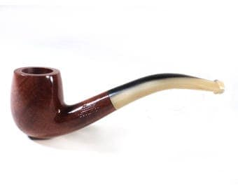 French Luxe Classical Bent Flammed Briar Wood Smoking Pipe, St Claude