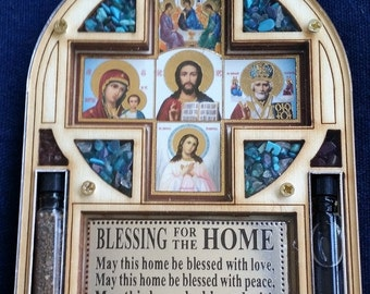 Blessing for home  ICON wall decor plaque with Holy water and Jerusalem soil