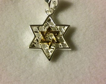 Star of David Sterling silver with cz zircons pendant necklace 2 cm from Jerusalem