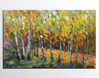 Autumn Tree Painting, Large Oil Painting, Landscape Painting, Canvas Art, Abstract Art, Large Wall Art, Abstract Painting, Heavy Texture Art