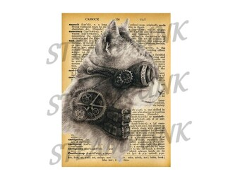 illustration - STEAMPUNK cat - print - art print - English Dictionary - table - digital - wall decor page