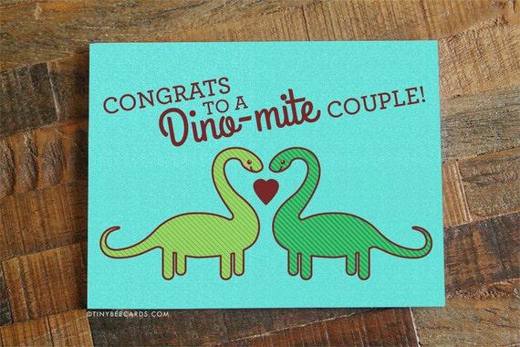 Cute Wedding Card Congrats To A Dino Mite Couple