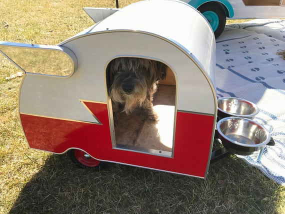 Trailer Dog House vintage style doghouse trailer camper with wings