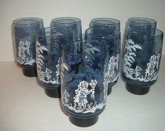 Set of 8 Vintage Libbey Mary Gregory Tumblers Glasses