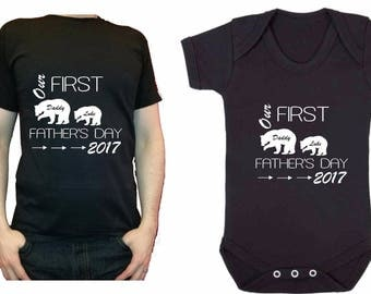 Our first Father's Day Daddy bear baby bear personalised t-shirt baby vest 1st