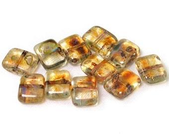 Crystal transparent w/ Golden picasso 9 x 11mm convex wide rectangle beads. Set of 15, 20, 30 or 40. De-stash.
