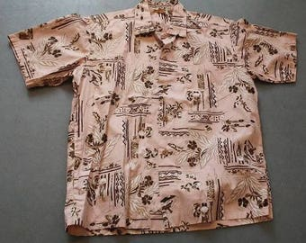 Stan Hicks Tiki Hawwian vintage 1950 polished cotton peach brown shirt sz lg
