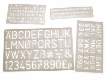 Plastic Letter, Number and Symbol Stencils Washable Assorted Size Lowercase and Uppercase Letter and Number Stencils