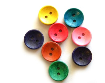 20 Wooden Round Buttons - 5/8 Inch