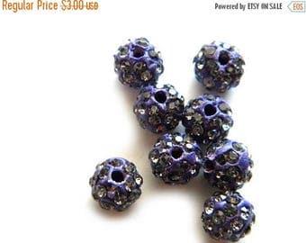 HALF PRICE 10 Purple Rhinestone Disco Ball Beads 8mm