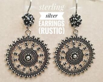 Hanging sterling silver earrings