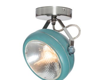 No.7 spotlight in aqua – vintage lamp made of headlight - handmade – wall or ceiling light - vintage or industrial interior