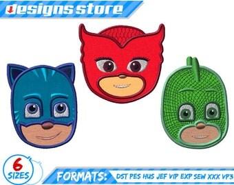 PJ mask  Faces Characters APPLIQUE DESIGN machine embroidery catboy connor, owlette amaya, greg gekko superhero logo