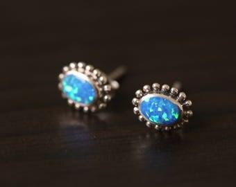 Opal 925 Studs, Fire Opal  Earrings,  Birthstone Earrings, Opal Silver Earring, 925 streling silver earrings