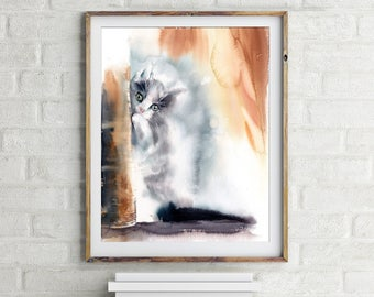 Kitten art print, kitten painting, watercolor painting of cat, Cat Painting, Cat watercolor art, Fine Art Print