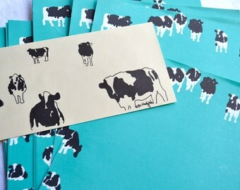 Vintage Stationery - Cows on Aqua - 22 Sheets & 10 Envelopes - Woody Jackson