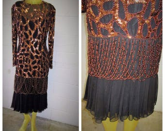 Black Tie Hollywood Glam Beaded Bronze embroidery Classy Black Flapper esque Size 8 dress