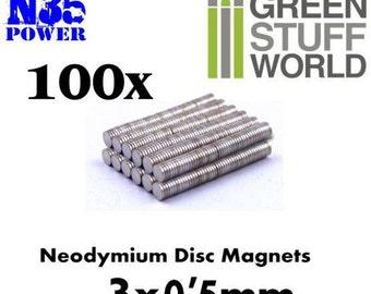 100x Neodymium Magnet 3x0.5mm Disc Rare Earth - N35 Grade- Wargaming model craft