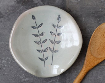 spoon rest with vines motif - pale celadon glaze - wood-fired stoneware pottery - READY TO SHIP