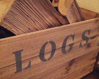 Rustic reclaimed vintage apple crate log storage box / caddy.