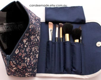 Large navy Rose pattern Makeup Bag with a Brush Holder and Magnetic Button.