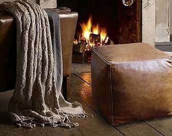 Leather Pouf Cube - Vintage Look