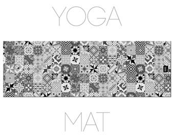 Tile Design Yoga Mat, Black And White, Mosaic Art, Yoga Accessory, Geometric Print, Floor Tiles Yoga Mat