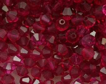 Swarovski 4mm Bicone Faceted Crystal Beads - RUBY - Select 10, 20, 50 or 100
