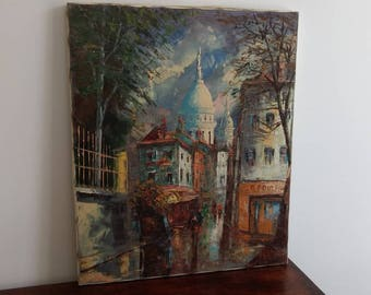 Striking large, French vintage oil painting of Paris view, Place de Tertre, Sacre Coeur Montmartre, signed original.